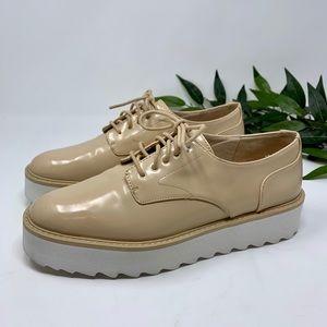 Zara Woman Beige Patent Leather Platform Oxford 37